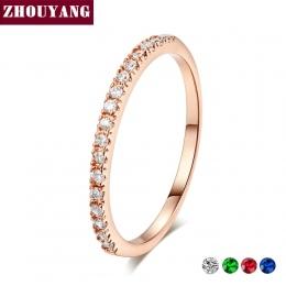 Wedding Ring Dla Kobiet Man Zwięzłe Klasyczne Wielokolorowe Mini Cyrkonia Rose Złoty Kolor Biżuteria R132 R133 ZHOUYANG