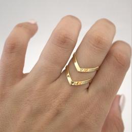 SMJEL 2017 Nowych Moda Boho Podwójne Linie V Chevron Pierścionki dla kobiet Biżuteria Prezent Proste Geometryczne Dainty Pierści