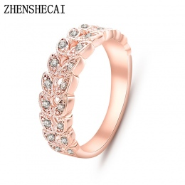 Najwyższej Jakości Złota Zwięzłe Klasyczna CZ Kryształ Wedding Ring Rose Złoty Kolor Austriackie Kryształy Hurtownie nj92