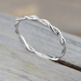 Diomedes 2018 Kobiety Twisted Kształt Pierścionek zaręczynowy Układania Dopasowanie Zespół Rocznica Pierścień Romantyczny Pierśc