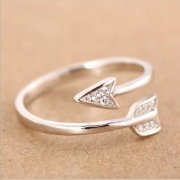Shuangshuo 2017 New Arrival Moda Posrebrzane kryształowe rings dla kobiet Regulowany pierścionek zaręczynowy strzałka Strzałka k