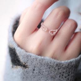 Regulowany Angel Wings Pierścień Micro Pave Cyrkon Złoty Kolor Pierścionki Dla Kobiet Moda Biżuteria pierścionki bague femme Kob