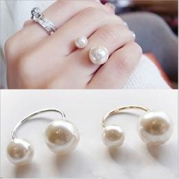2018 Nowo Przybyłe Hot Moda damska Akcesoria Imitacja Pearl Rozmiar Regulowany Pierścień Otwarcie Pierścienia Ulicy Fotografowan