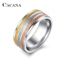 Pierścienie Ze Stali Nierdzewnej Dla Kobiet Trzy Kolory Linie CACANA Trendy Ślubne Pierścionki Mody Dla Kobiet Party Biżuteria H