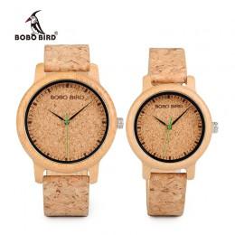 BOBO miłośników ptaków zegarki drewniane zegarki ręcznie korek pasek bambusa kobiety zegarek luksusowy zegarek w polu zaakceptow
