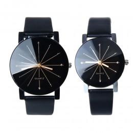 1 para para kochanek zegarki kwarcowe Dial zegar PU zegarek z paskiem skórzanym Relojes zegarek kobiety mężczyźni moda luksusowe