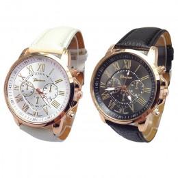 Xiniu zegarek 2 szt cyfry skórzany czarny biały Casual pary zegarki zegarek analogowy zegarek kwarcowy dla kobiet lub mężczyzn