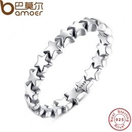BAMOER Star Trail Wieżowych Ring Finger Dla Kobiet Ślub 100% 925 Sterling Silver Biżuteria 2018 HOT SPRZEDAM PA7151