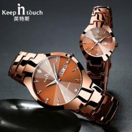 Pozostać w kontakcie marki luksusowe kochanka zegarki kwarcowe kalendarz sukienka kobiety mężczyźni zegarek pary zegarek Relojes