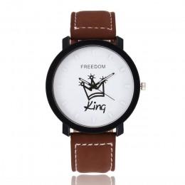 Nowy Relogio pary zegarek król i królowa skórzany zegarek kwarcowy męskie damskie moda Sport zegar męskie zegarki damskie zegark
