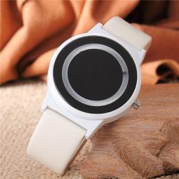 Pary zegarek w stylu Harajuku zegar cukierki kolor PU skórzany pasek zegarek kwarcowy na rękę zegarki dla kobiet Unisex kobiety