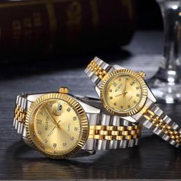 Zegarek dla pary 2019 męskie zegarki Top marka luksusowy zegarek kwarcowy kobiety zegar panie sukienka zegarek kwarcowy moda na