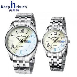 Pozostać w kontakcie zegarek dla miłośników pary firm luksusowe mężczyzn i kobiet zegarki na rękę kwarcowy wodoszczelne Calerdar