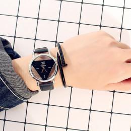 Moda fala zegarki damskie męskie Hollow kwarcowy na co dzień Student zegarki dla par trójkąt zegarek