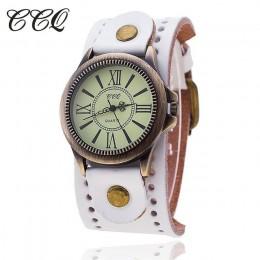 CCQ marka mężczyźni kobiety w stylu Vintage skóra bydlęca bransoletka zegarki na rękę Casual luksusowe mężczyzna kobiet zegarek