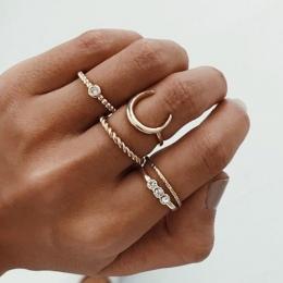 Krótkie 5 sztuk/zestaw CZ Kryształ Midi Rings dla Kobiet Czeski Księżyc Charms Pierścienie Wedding Party Punk Biżuteria walentyn