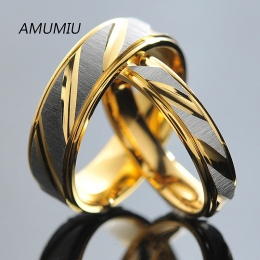 AMUMIU Pary Pierścienie Ze Stali Nierdzewnej dla Mężczyzn Kobiety Złote Obrączki Zaręczynowe Rocznicę Miłośników jego i jej obie
