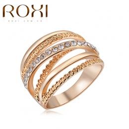 ROXI Marka Kobiety Pierścień Róży Złocisty Kolor Finger Pierścionki Zaręczynowe dla kobiety Obrączki anillos Ciało Biżuteria Roz