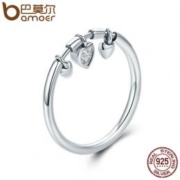 BAMOER New Arrival 925 Sterling Silver Błyszczące Serce Wyczyść CZ Anel Kobieta Pierścień Kobiety Ślub Zaręczyny Biżuteria SCR21