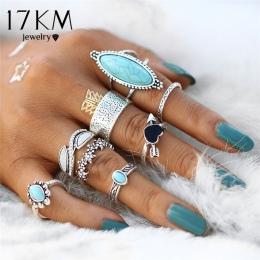17 km Vintage Big Stone Midi Ring Set Dla Kobiet Boho Antyczne Kolor Srebrny Serce Kwiat Knuckle Pierścionki Boho Biżuteria anil