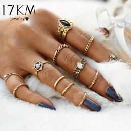 17 KM Projektowania Rocznika Punk Midi Pierścienie Zestaw Antique Złoty Kolor Boho Kobiet Wisiorek Jubilerski Knuckle Pierścień