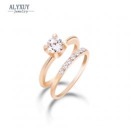 Moda biżuteria Nowy złoty kolor CZ cyrkon palec serdeczny ustawić prezent ślubny dla kobiet panie hurtowych R1373