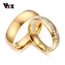 Vnox Złota-kolor Obrączki Pierścionek dla Kobiety Mężczyźni Biżuteria 6mm Stal nierdzewna Pierścień USA Rozmiar 5 do 13 Rocznica