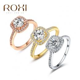 2018 Moda Biżuteria Pierścionki dla Kobiet Anillos ROXI Marki Białe Różowe Złoto Kolor Cyrkonu Środowiska Rhinestone Obrączki