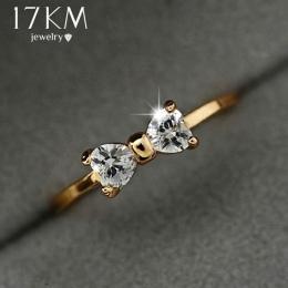 17 km Austria Kryształ pierścionki Złoty Kolor palec Łuk pierścień ślub zaręczyny Zircon Kryształowe Rings kobiet biżuteria hurt