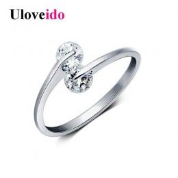 Uloveido Resizable Pierścienie dla Kobiet Pierścień Kobiet Cyrkon Biżuteria Aneis Femininos Kryształ Anel Anillo Prezenty na Now