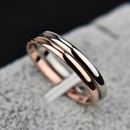 KNOCK 2 MM Cienka Ze Stali Nierdzewnej Trzy kolor Para Pierścień Proste Moda Rose Gold Ring Finger biżuteria Dla Kobiet