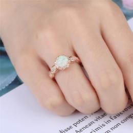 BOAKO Elegancki Rainbow Opal Pierścień Mody Biały CZ Ślub Biżuteria Złota Róża Wypełniony Zaręczynowy Obietnica Krążki dla Kobie