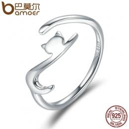 BAMOER 100% 925 Sterling Silver Lepkie Kot z Długim Ogonem Palcu Kobiety Pierścień Regulowany Pierścionek zaręczynowy Biżuteria