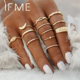 JEŚLI MI 12 sztuk/partia Orzeł Kryształ Kolor Złoty Pierścień Zestaw Do Zaangażowania Kobiet Biżuteria Midi Ring Finger Strona D
