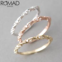 Najwyższej Jakości Srebra Złota Wzrosła złoty Kolor Twist Klasyczne Cyrkonia Wedding Ring dla Kobiet Dziewczyna Austriackie Krys