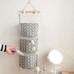 3 kieszenie wisząca torba do przechowywania na ścianie szafa rozmaitości torba do zawieszenia pojemnik tkaniny bawełna etui kosm