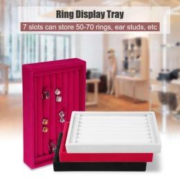 Przenośny Velvet Biżuteria Pierścień Kolczyk Wstaw Wyświetlacz Spinki Organizator Box Drewniane Płaskie Wieżowych Tacy Holder St