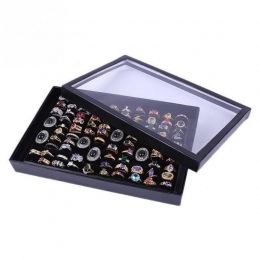 Moda Biżuteria Organizator Box Holder Pokaż Sprawa Dla Pierścienia Przechowywania Kolczyk Wyświetlacz 100 Otwory Włóż Sloty