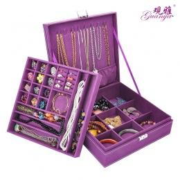 Duża Bestsellery Moda Flanelowe Plac Biżuteria Box Prosty układ 2 Warstwy choker naszyjnik Pierścień Schowek Makijaż Organizator