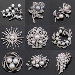 Fabryka Sprzedaż Bezpośrednia Kryształ Diamante & Sztuczna Pearl Kwiat Moda Liści i Jelenie Broszka Pins dla Kobiet w Różne Wzor