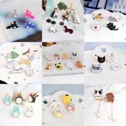 Panna Zoe 2 ~ 8 sztuk/zestaw Kitten Puppy Cat Dog Hippo Totoro Broszka przycisk Kurtka Dżinsowa Odznaka Pins Zwierząt Biżuteria
