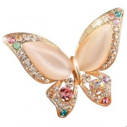 Cena fabryczna 3 kolory dla wybierz OPal rhinestone broszki na ślub broszka motyl dla kobiet moda biżuteria dobry prezent