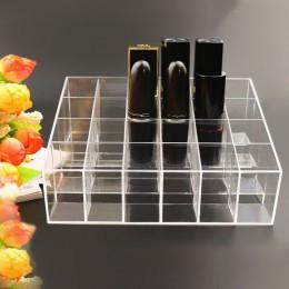 Przenośne przezroczyste 24 siatki makijaż organizator pudełko do przechowywania etui na szminki organizator stojak wystawowy na