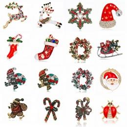 Rinhoo Christmas gift skarpety kapelusz deer kwiat śniegu cat Santa Claus Broszki Pins collar Biżuteria Ślubna kobiet broszka