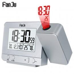 FanJu FJ3531 projekcja budzik zegar cyfrowy data funkcja drzemki podświetlenie projektor biurko stół zegarek LED wraz z upływem