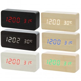 Wielokolorowa kontrola dźwięku drewniany drewniany kwadratowy budzik led stół biurkowy cyfrowy termometr drewno USB/AAA wyświetl