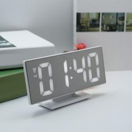 Nowy aktualizacji cyfrowy zegar z budzikiem Led lustro zegar wielofunkcyjny drzemka czas wyświetlania noc Led tabeli pulpit budz
