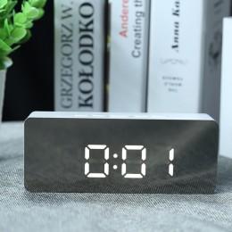 LED lustro budzik zegar cyfrowy drzemki tabeli zegar stołowy zegar obudzić światło elektroniczny duży czas wyświetlania temperat