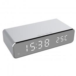 Elektryczny LED budzik z bezprzewodowa ładowarka do telefonu pulpitu termometr cyfrowy zegar HD lustro zegar z pamięci czasu