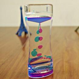 Gorący pływający kolor Mix Illusion zegar płyn Motion Visual Slim płynny olej akrylowe zegar z klepsydrą zegar Ornament biurko